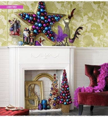 christmas mantel decorated with colorful glass ball ornaments